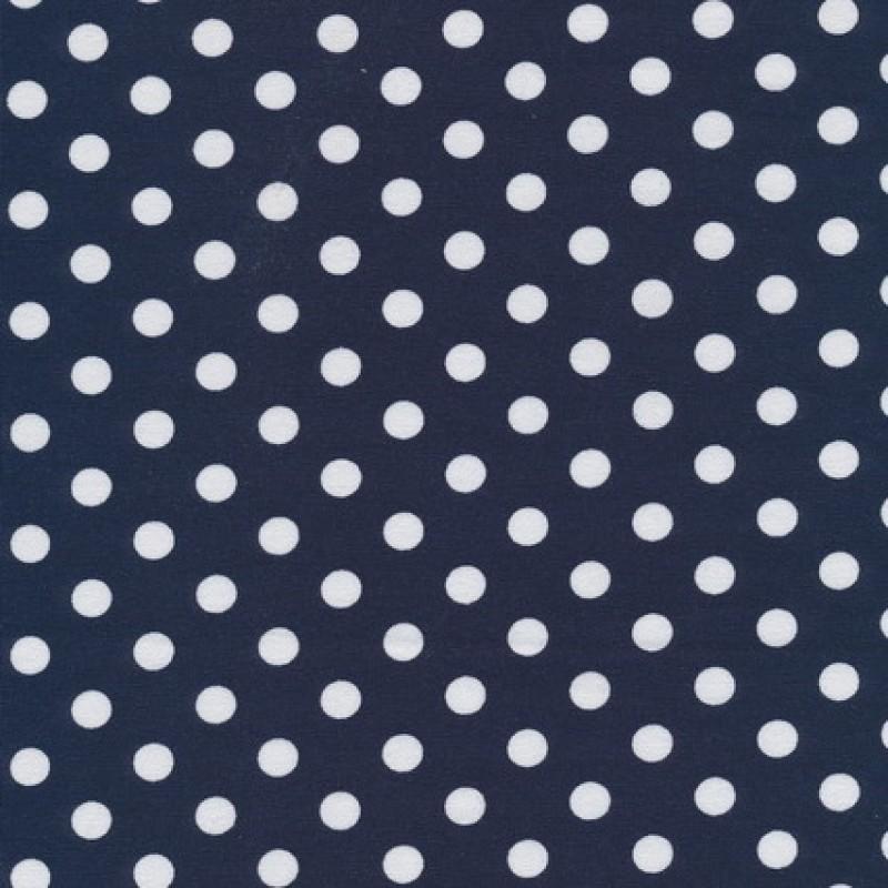 Bomuld/lycra økotex m/prikker, mørkeblå/hvid