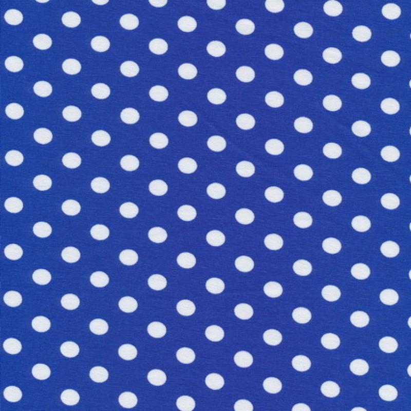 Bomuld/lycra økotex m/prikker, klar blå/hvid-35