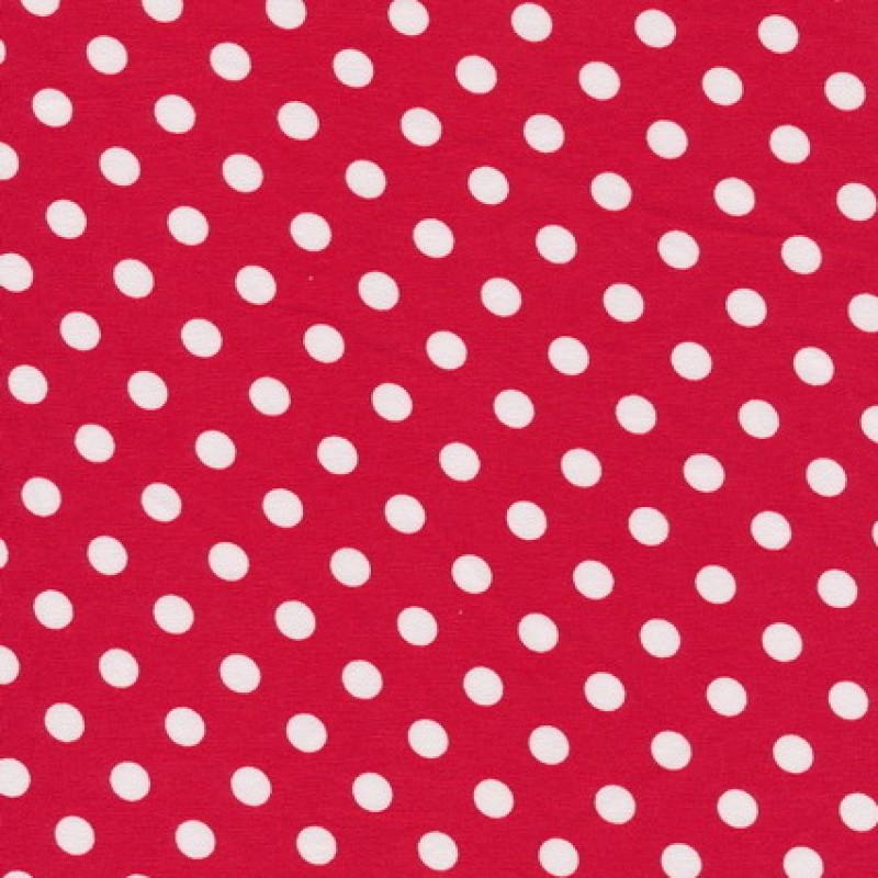 Bomuld/lycra økotex med prikker, rød/hvid-33
