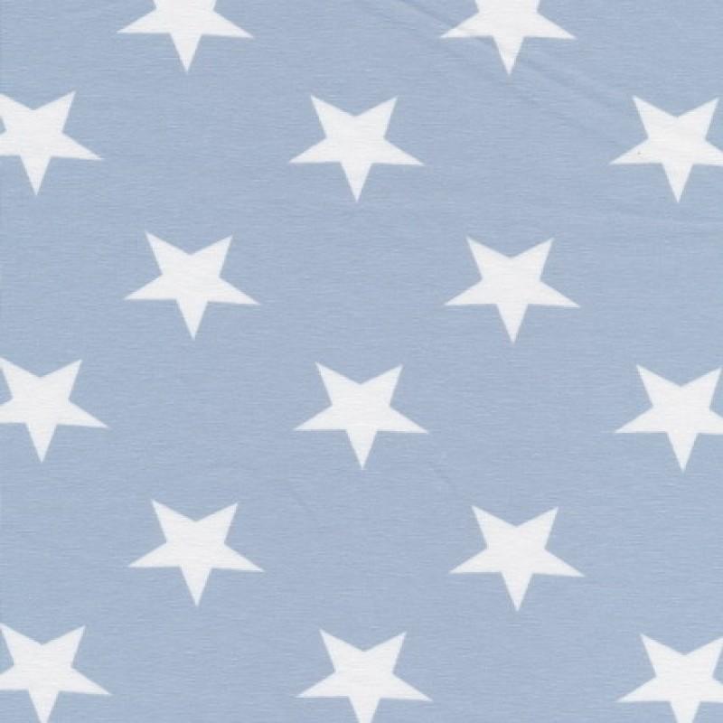 Afklip Bomuld/lycra økotex m/stjerner babylyseblå/hvid, 50 cm.