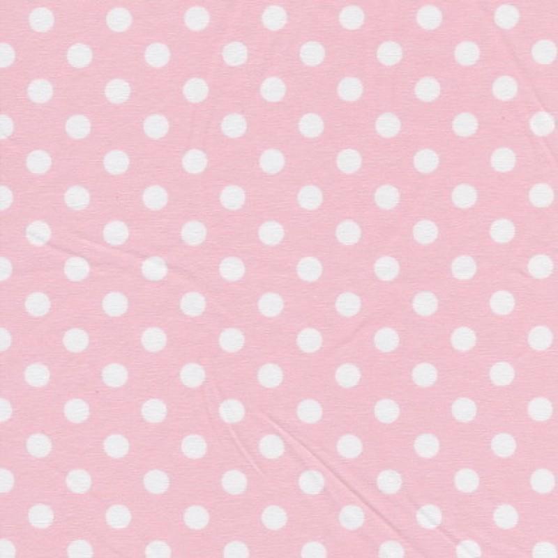Bomuld/lycra økotex m/prikker, babylyserød/hvid
