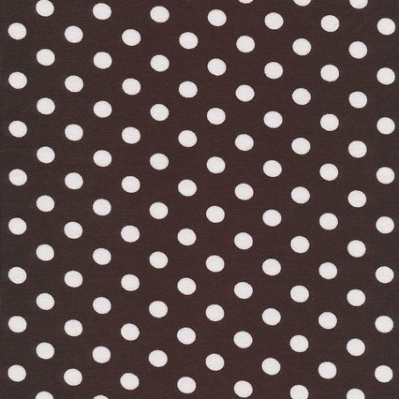 Bomuld/lycra økotex m/prikker, mørkebrun/hvid-35