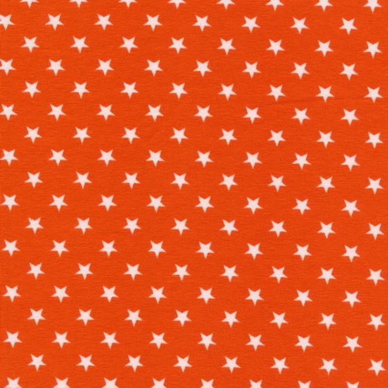 Rest Bomuld/lycra økotex m/små stjerner orange/hvid, 75 cm.