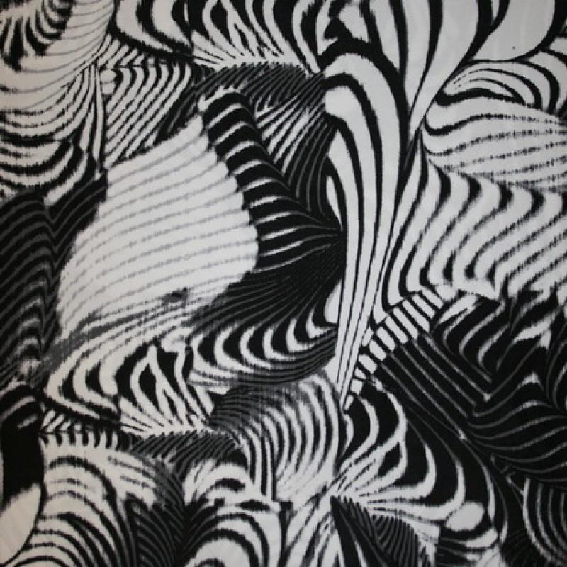 Rest Viscose/elasthan mønstret/zebra-print sort/hvid, 150 cm.-35