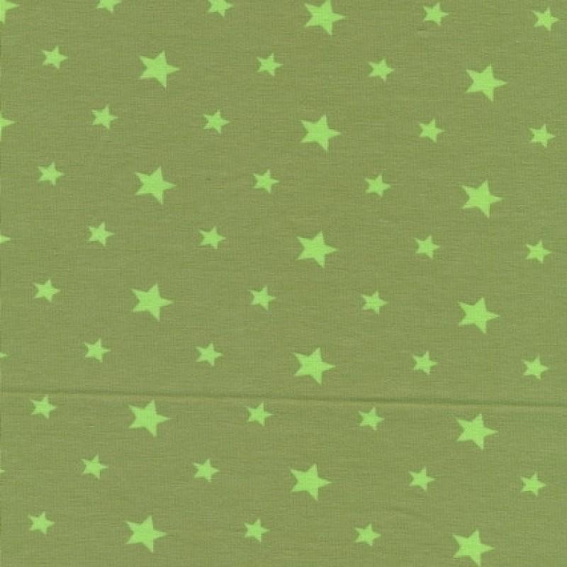Bomuld/elasthan økotex m/stjerner, lys oliven/lime-31