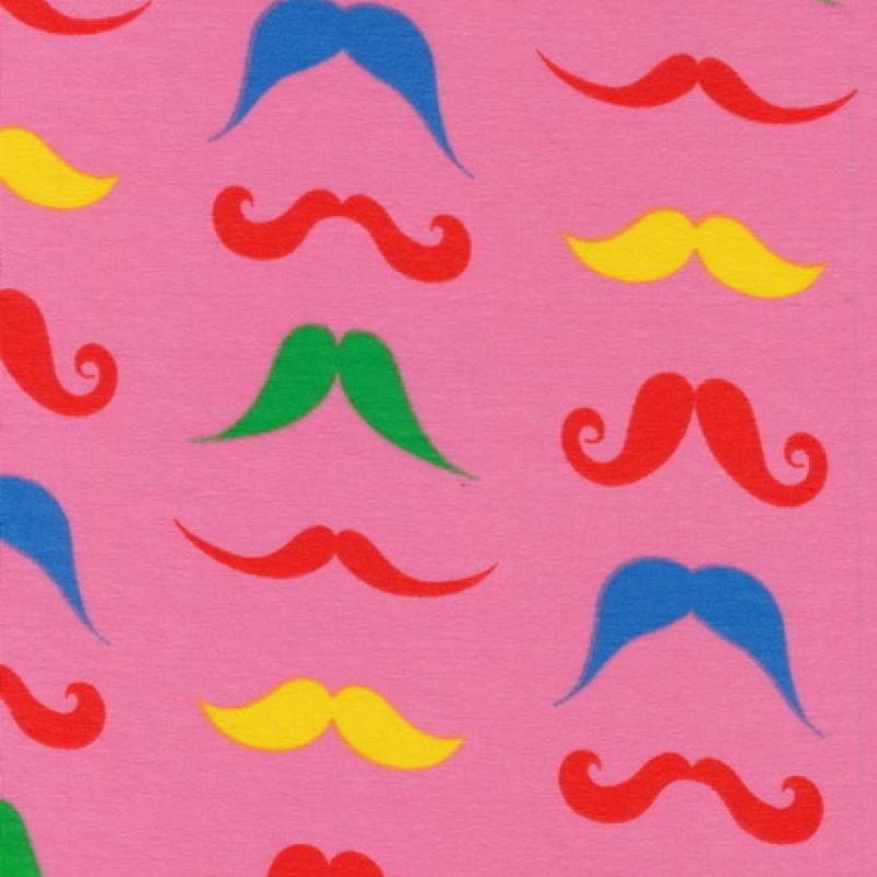 Rest Øko-bomuld/lycra m/mustage/overskæg, pink, 40 cm.