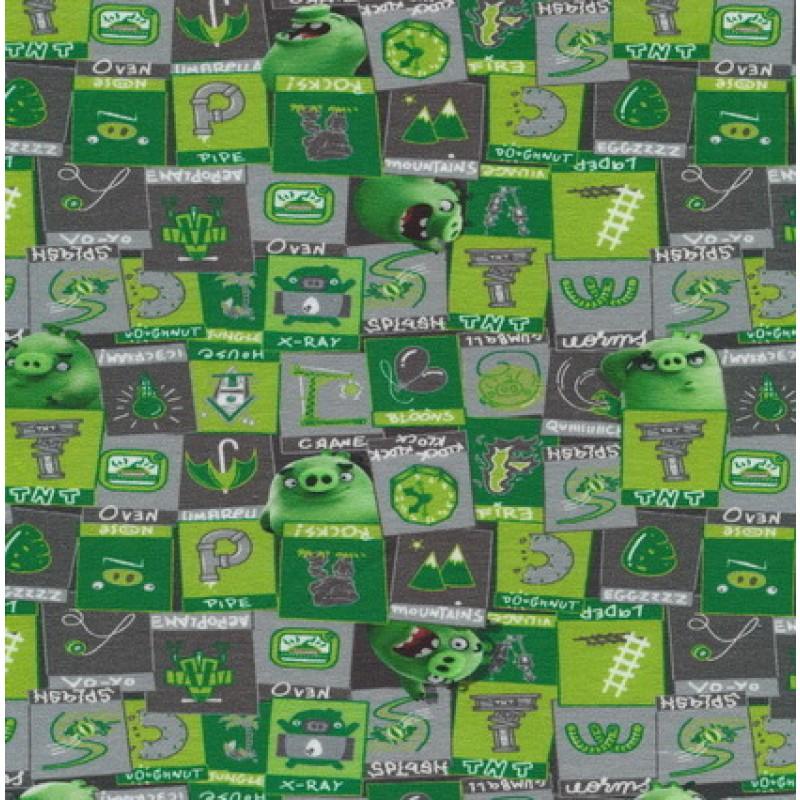 Bomuld/lycra økotex m/digitalt tryk,Angry Birds m/firkanter