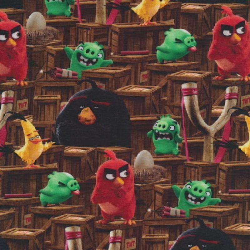 Bomuld-lycra økotex stof med digitalt tryk, m Angry Birds, brun-35