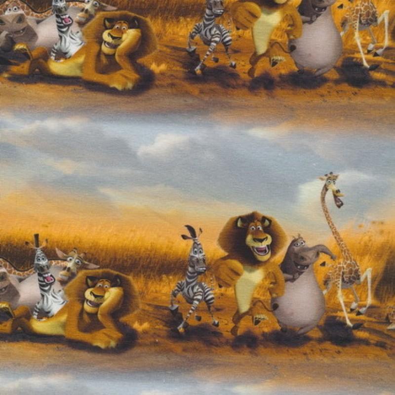 Afklip Øko-bomuld/lycra m/digitalt tryk, m/Madagaskar 39x60 cm.