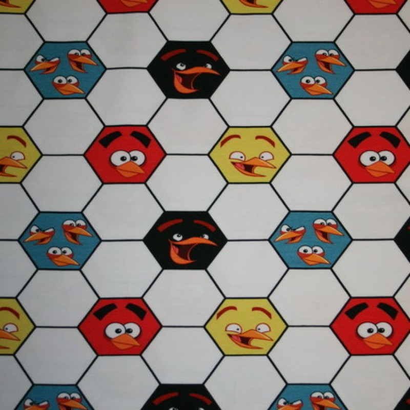 Bomuld/lycra økotex m/digitalt tryk,Angry Birds m/fodbold-35