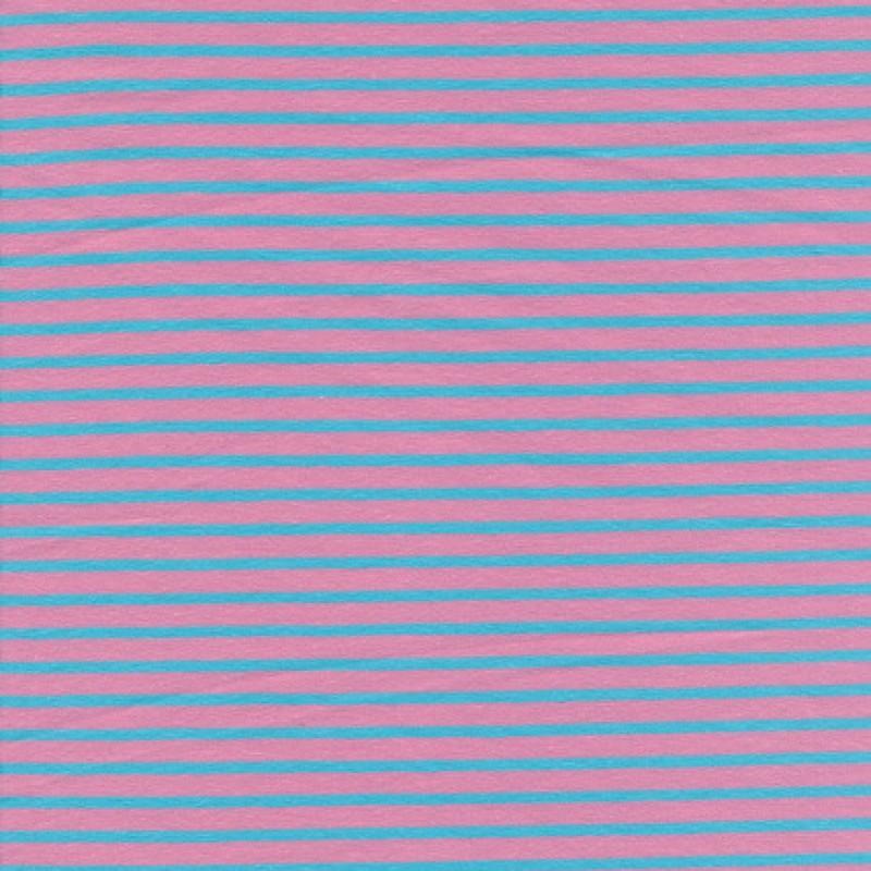 Bomuld/elasthan økotex m/striber rosa/lys turkis