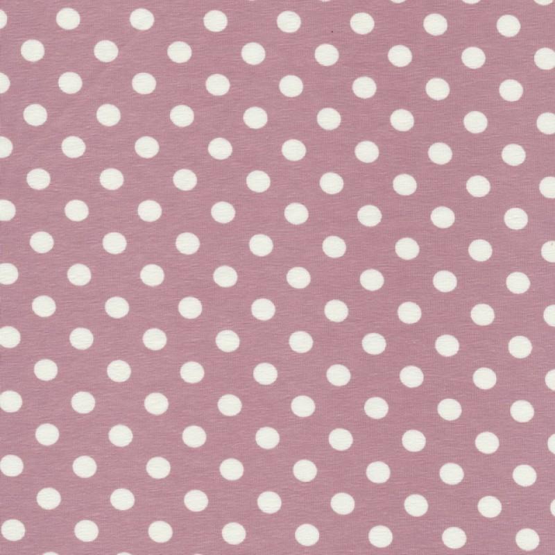 Bomuld/lycra økotex m/prikker, gl.rosa/hvid-33