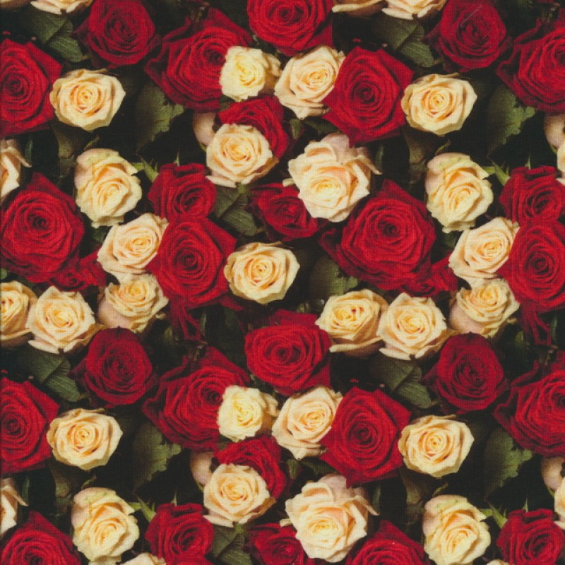 Afklip Bomuld/lycra økotex m/digitalt tryk m/roser rød/off-white 40x60 cm.