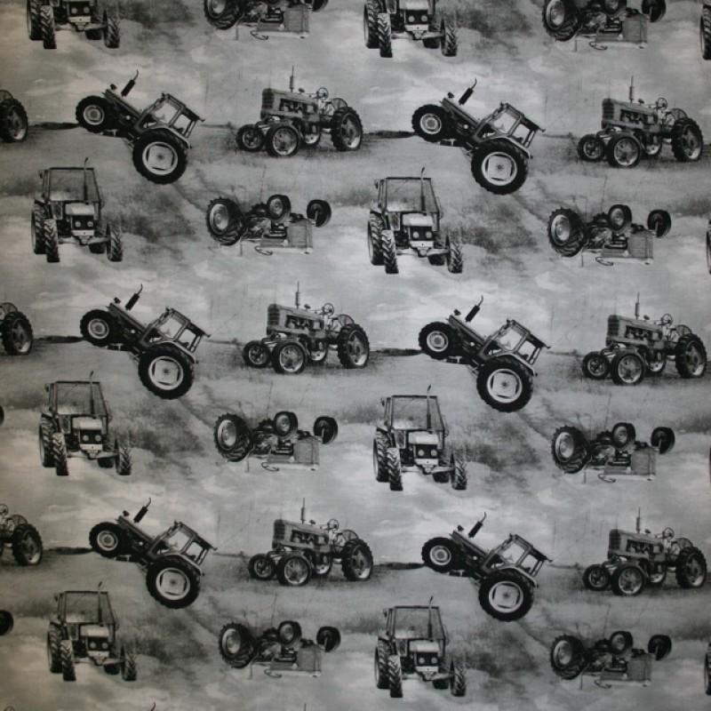 Afklip Bomuld/lycra økotex m/digitalt tryk, m/traktor, grå 40x60 cm.