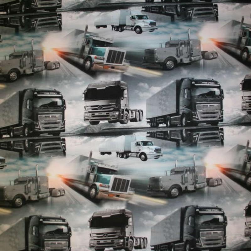 Afklip Bomuld/lycra økotex digitalt tryk, lastbiler 40x60 cm.