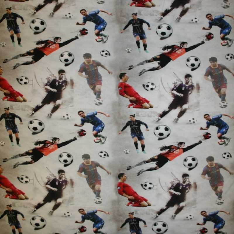 Afklip Bomuld/lycra økotex digitalt tryk, fodbold-FIFA 40x60 cm.