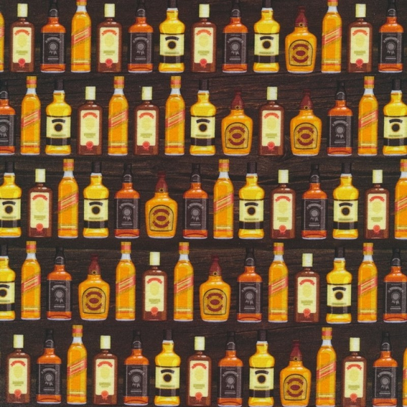 Bomuld/lycra økotex m/digitalt tryk, m/flasker mørk brun orange gul-32