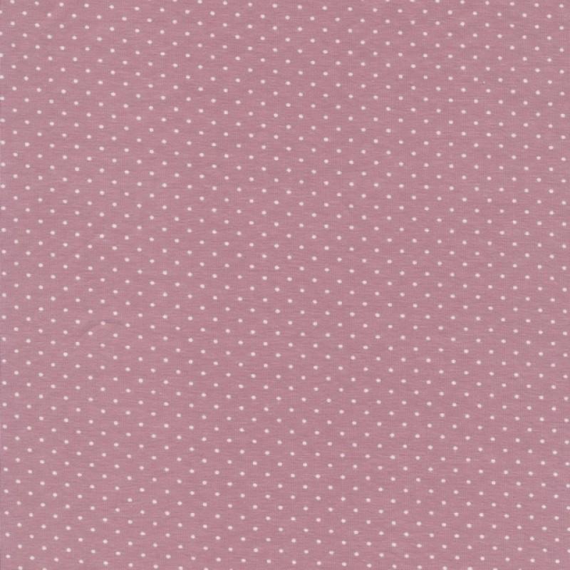 Bomuld lycra økotex med lille prik, rosa hvid