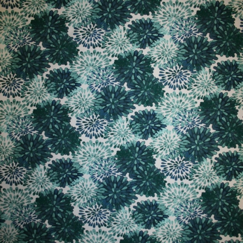 Rest Bomulds jersey økotex digitalt print med blomster aqua flaskegrøn, 65 cm.