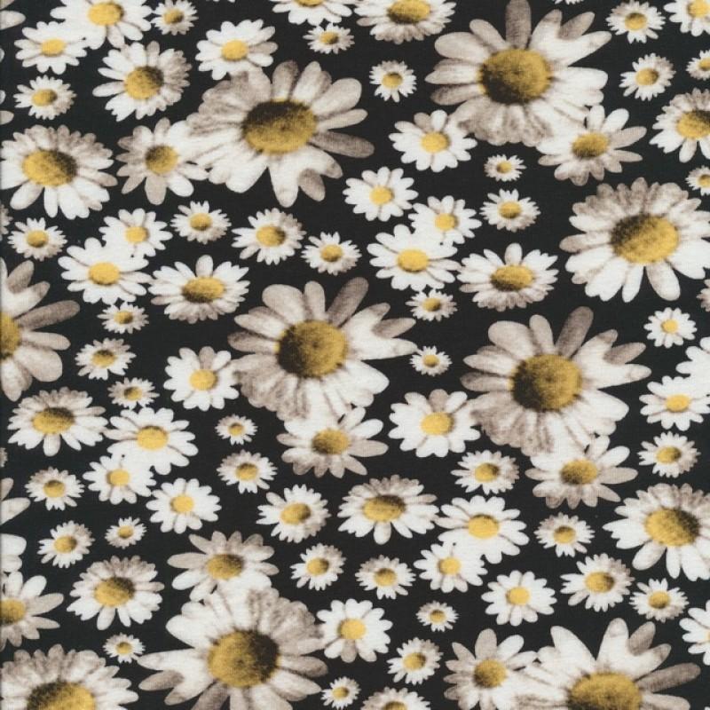 Bomuld/lycra økotex med digitalt tryk, Marguerit sort-hvid-lys gul-36