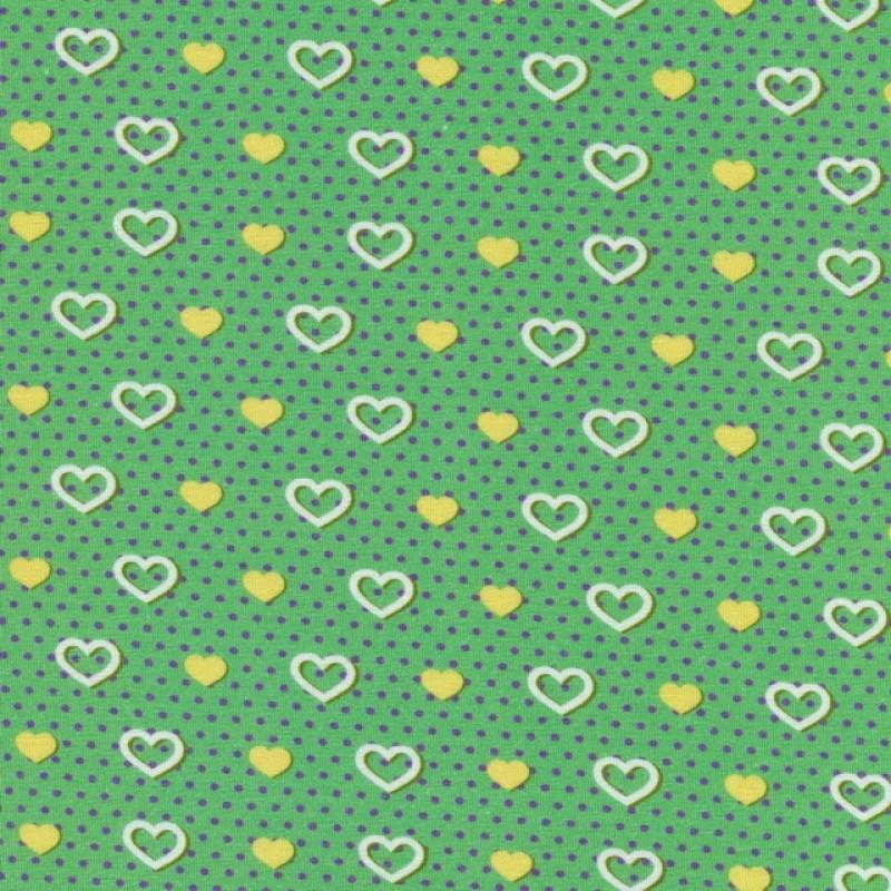 Bomuldsjersey GOTS semi-digital grøn med hjerter-315
