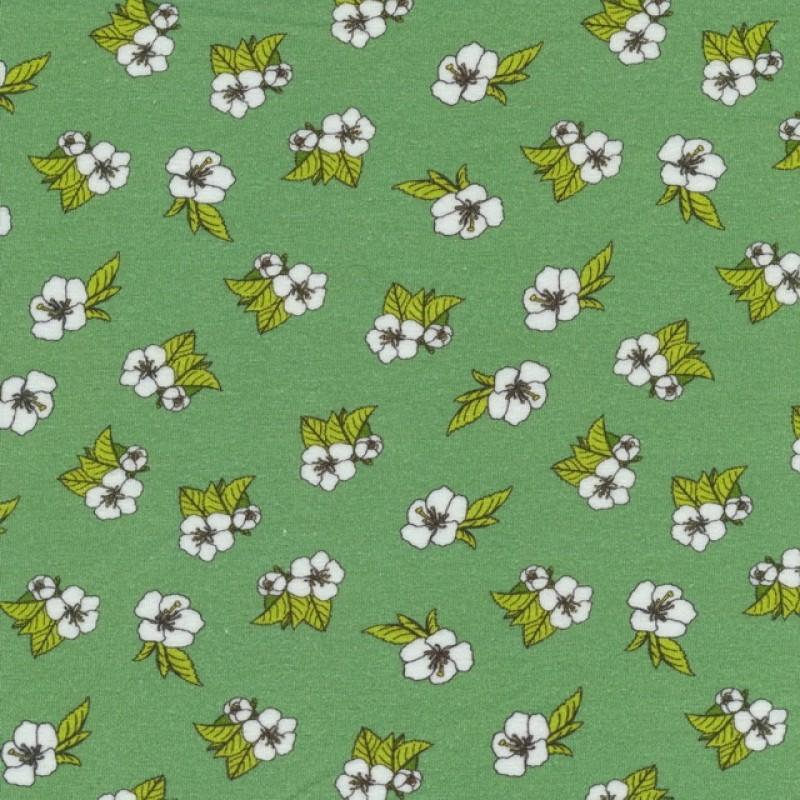 Bomuldsjersey GOTS semi-digital støvet grøn med blomster-316
