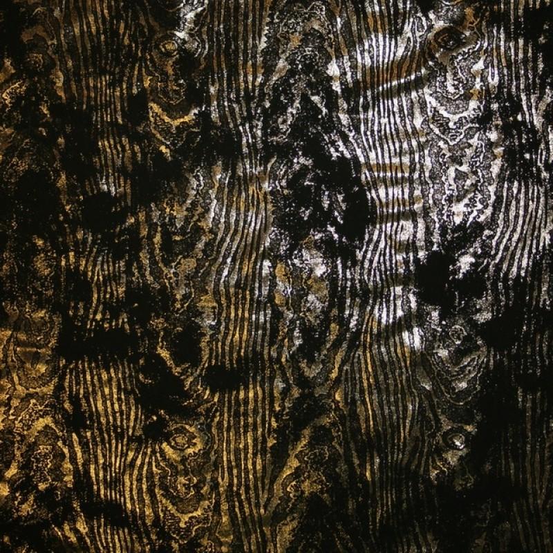 Jersey med træ-åre look i sort og guld