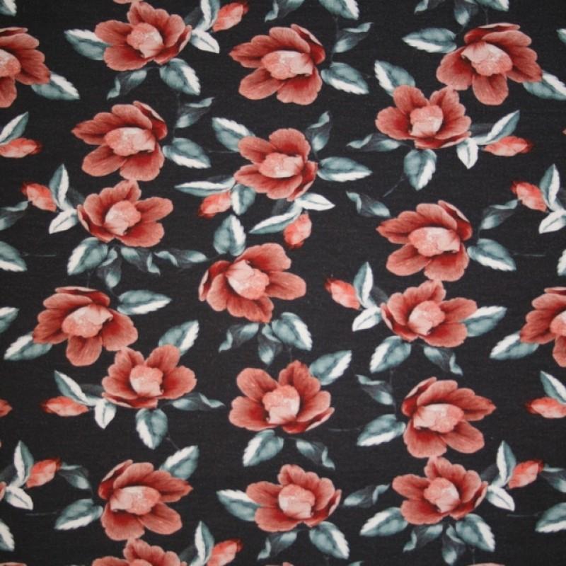 Bomulds jersey økotex digitalt print støvet mørkeblå med gammel rosa blomster-38
