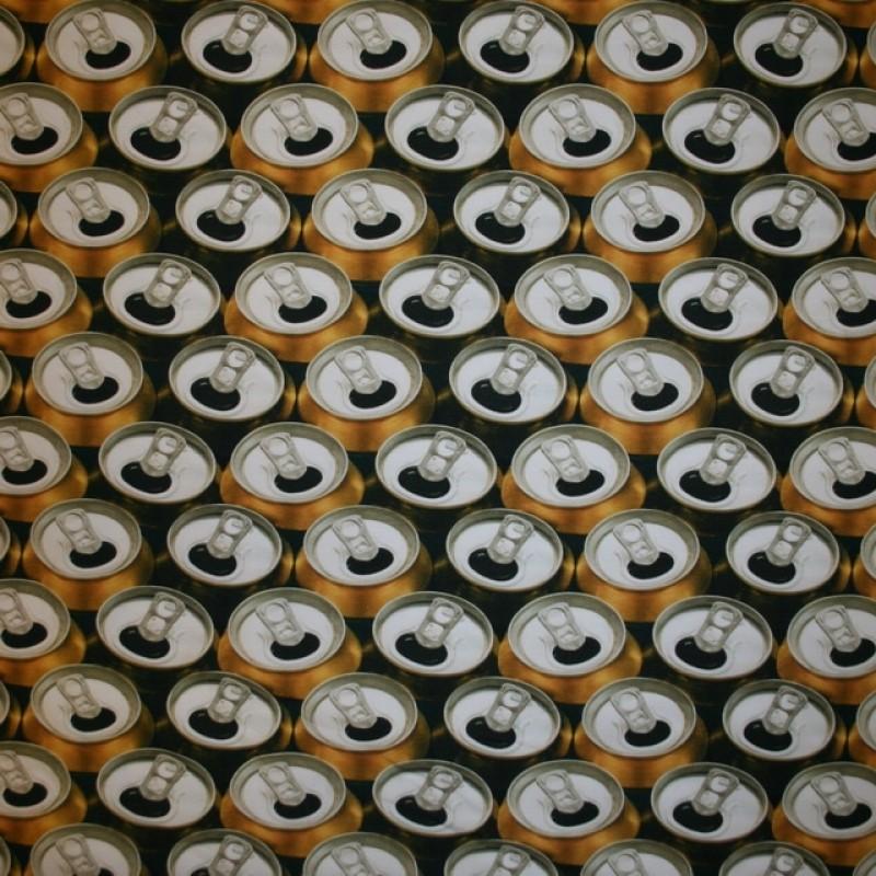Bomulds jersey økotex digitalt print med øldåser-311