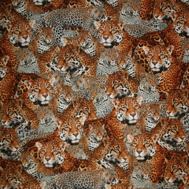 Bomulds jersey økotex digitalt print med leopard-312