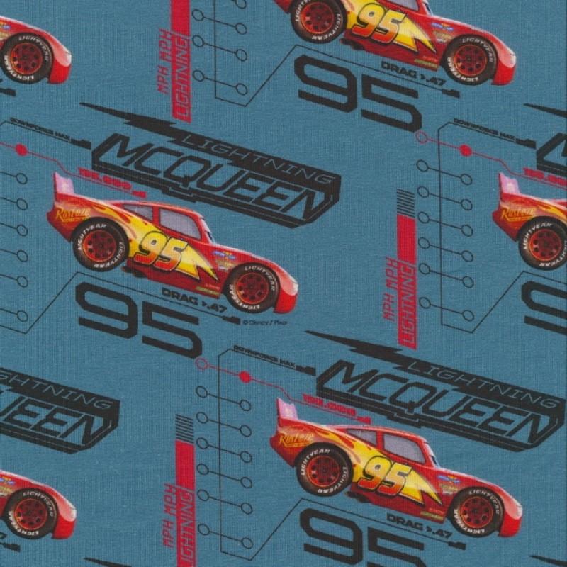 Bomuldsjersey økotex m/digitalt tryk grå-blå Cars Lynet Mcqueen-36