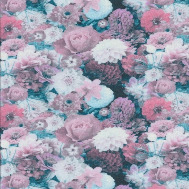 Bomuldsjersey med blomster i digitalprint i rosa hvid petrol-310