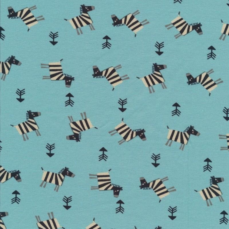 Bomuldsjersey økotex aqua med zebra-311