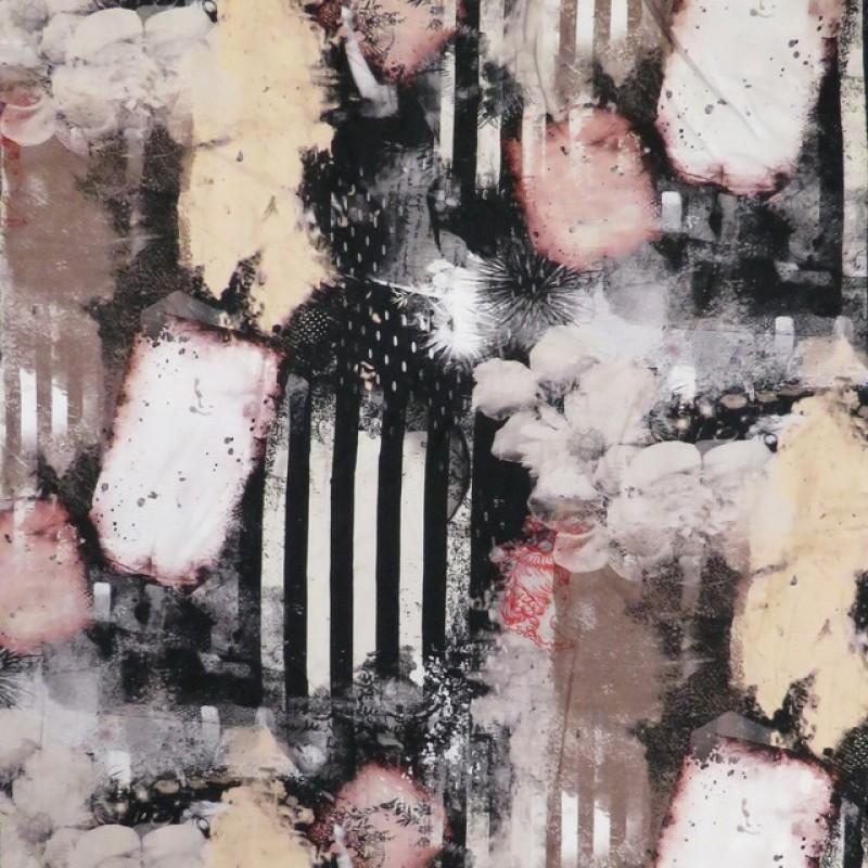 Bomuldsjersey med digitalprint med strib og blomster i sort og pudder-316