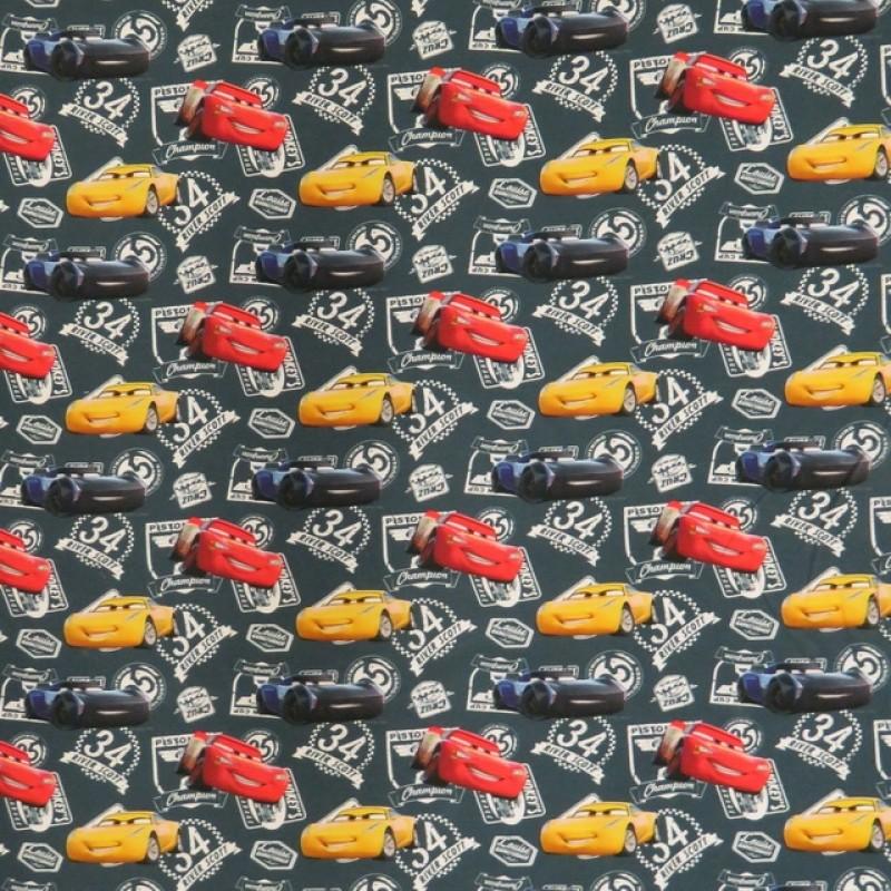 Bomuldsjersey økotex m/digitalt tryk støvet blå, Cars-37