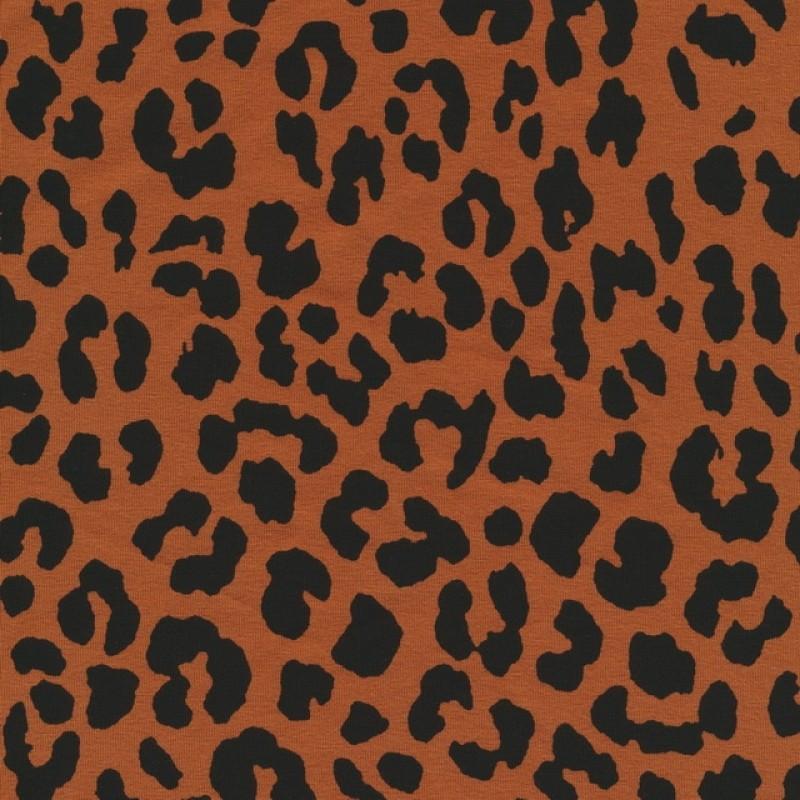 b17e848ed8295 Bomuld/lycra m/dyreprint, leopard brændt orange og sort | SToFSTEDET.dk