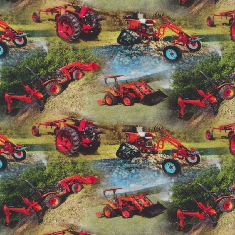 Bomuld/lycra økotex m/digitalt tryk, med små traktor i rød-32