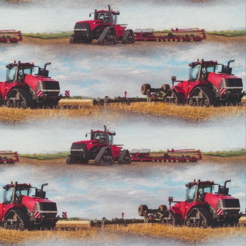 Afklip Bomuld/lycra økotex m/digitalt tryk, med traktor i lyseblå og rød 39x60 cm.-33