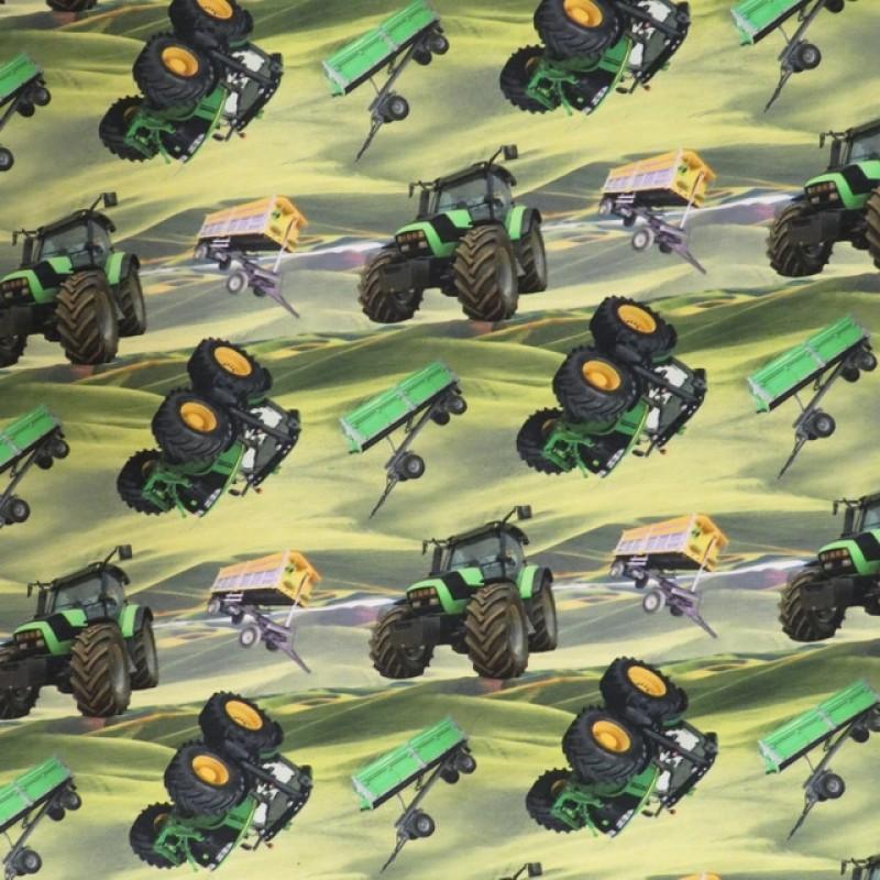 Afklip Bomuld/lycra økotex m/digitalt tryk, med traktor i grøn 40x60 cm.-34