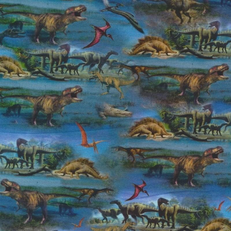 Afklip Bomuld/lycra økotex m/digitalt tryk, med dinosaurus i blå 40x60 cm.