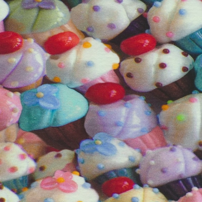 Bomuld/lycra økotex m/digitalt tryk, cupcakes i pasteller-37