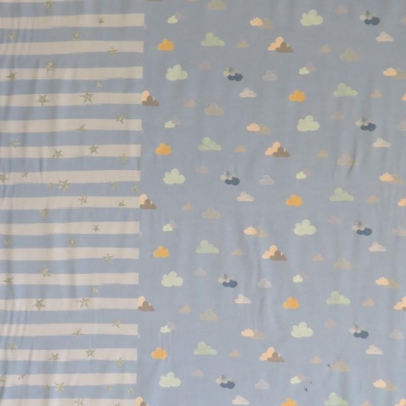 Rapport Bomuldsjersey økotex lyseblå med gris 63x150 cm.-310