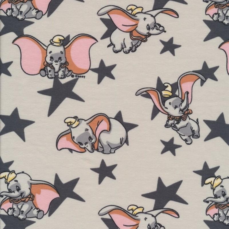 Bomuld/elasthan økotex med stjerner og Dumbo-38