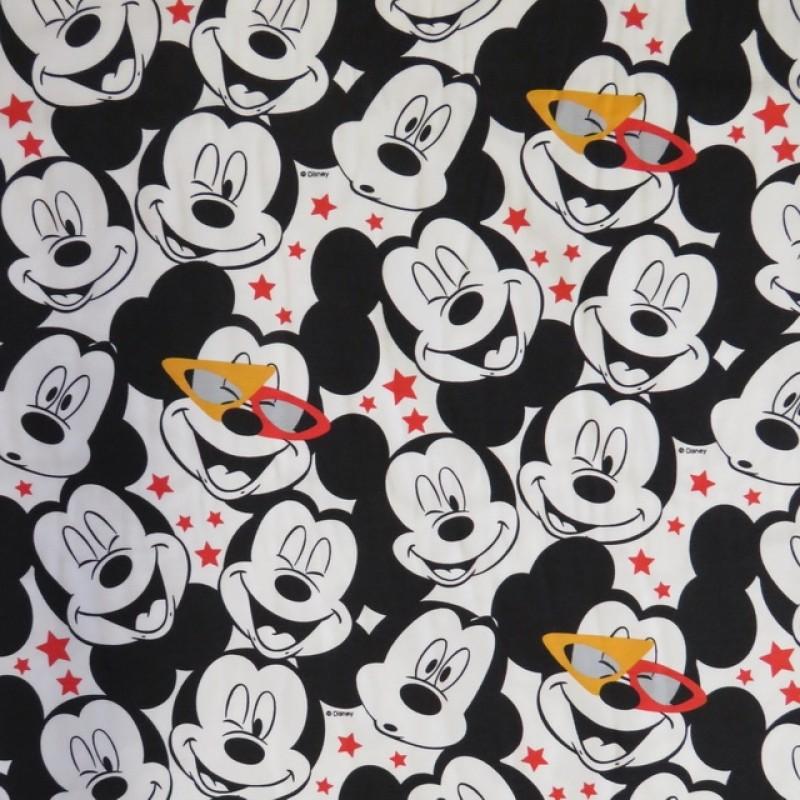 Bomuld/elasthan økotex med Mickey hoveder-39