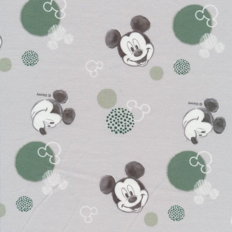 Bomuld/elasthan digitalt tryk i lysegrå med Mickey-312