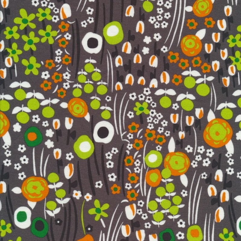 Bomuld lycra økotex retro småblomstret i grå rust lime-39