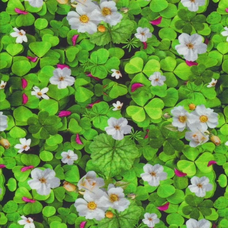 Bomuld/lycra m/digitalt tryk med grønne kløver og jordbær-blomster-37
