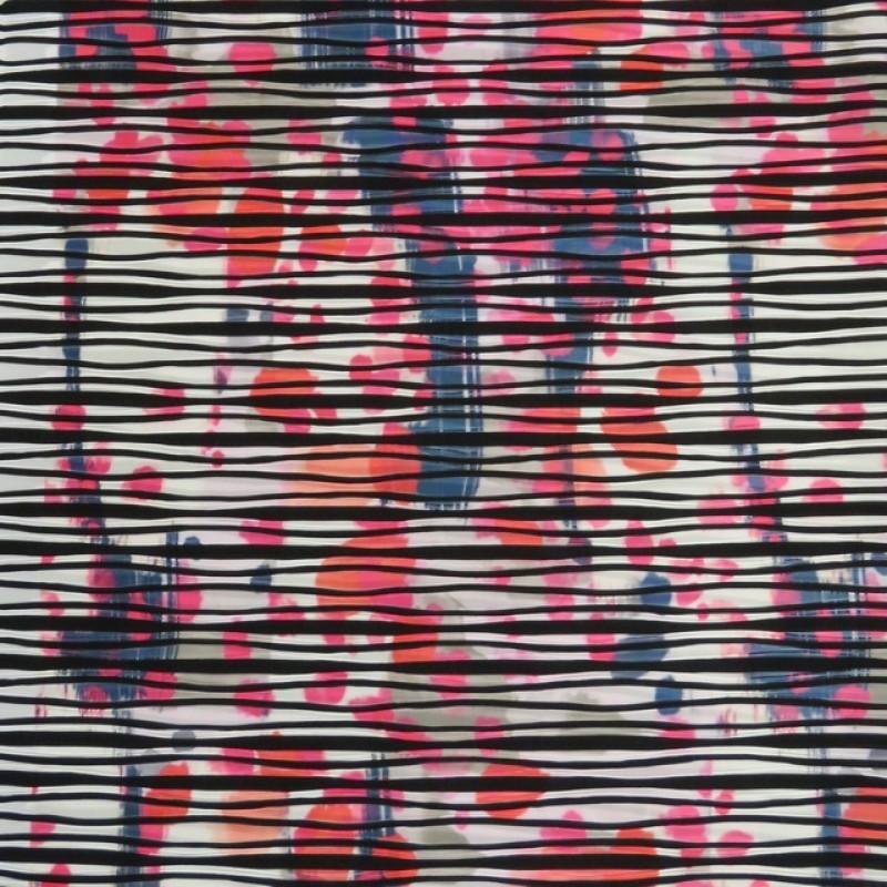 Jersey / strik med uens striber og mønster i sort hvid pink og blå-315