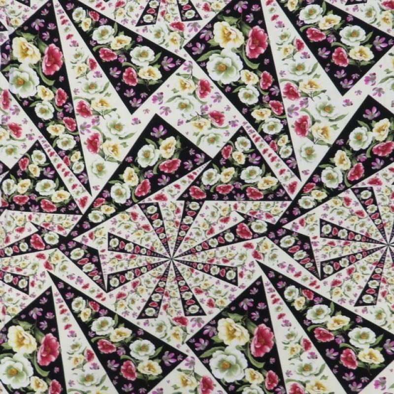 Bomuldsjersey økotex m/digitalt tryk med blomster i trekant-39
