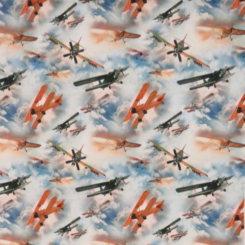 Bomuldsjersey økotex m/digitalt tryk med flyver og skyer-311